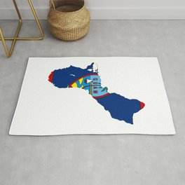 Guam Map with Guamanian Chamorro Flag Rug