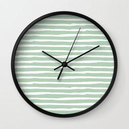 Elegant Stripes Pastel Cactus Green and White Wall Clock