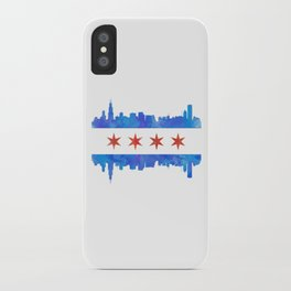 Chicago Flag Skyline Watercolor iPhone Case