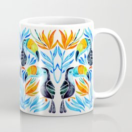 Tropical Toucans – Blue Leaves Coffee Mug