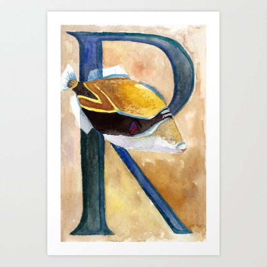 R is for Reef Triggerfish Art Print