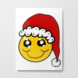 Santa Smiley Metal Print