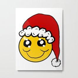 Santa Smiley Metal Print