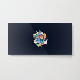 artwork digital Rubik's Cube 3D 3D Blocks  3D  simple background blue background cube Metal Print