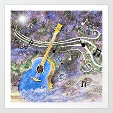 Space Guitar Acoustic Art Print