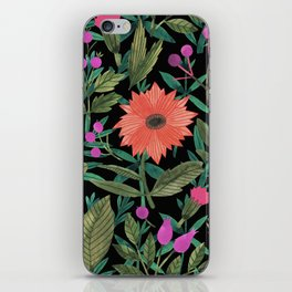 Botanical black coral violet green watercolor floral iPhone Skin