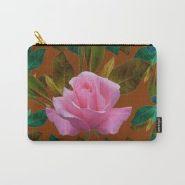 LEAFY PINK ROSE GARDEN & COFFEE BROWN ART Carry-All Pouch