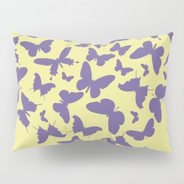 Ultra violet heart shape made from butterfly silhouettes. Pillow Sham