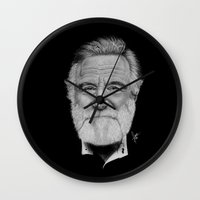 robin williams Wall Clocks featuring Robin Williams by Svartrev