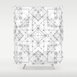 Science scheme geometric lines with alchemy symbols Shower Curtain