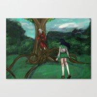 inuyasha Canvas Prints featuring Inuyasha and Kagome by Creativelea