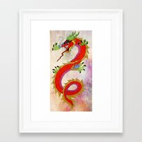 dragon Framed Art Prints featuring dragon  by mark ashkenazi
