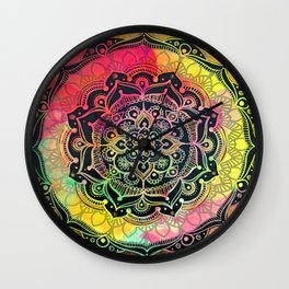 Rainbow Mandala Wall Clock