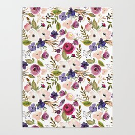 Violet pink yellow green watercolor modern floral pattern Poster