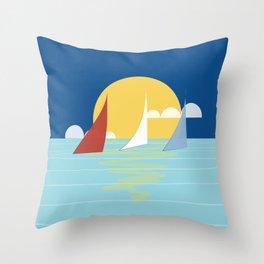Sun, ocean and sails Throw Pillow