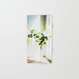Vase of Flowers with shadows watercolor Hand & Bath Towel