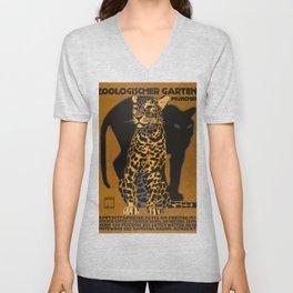 Leopard, Panther, German Zoo, Vintage Poster Unisex V-Neck