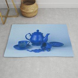 Blue tea party madness - still life Rug