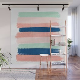 Painted stripes pattern minimal basic nursery decor home trends colorful art Wall Mural