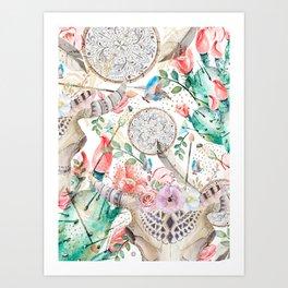 Boho skull and cactus Art Print