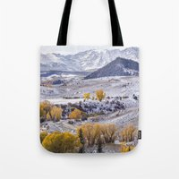 gore Tote Bags featuring Gore Range by Two Happy Campers