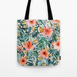 TROPICAL SNEEZE Watercolor Floral Tote Bag