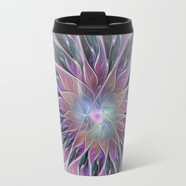 Fantasy Flower, Colorful Abstract Fractal Art Travel Mug