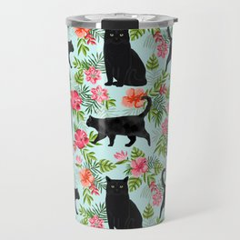 Black cat hawaiian cat breeds cat lover pattern art print cat lady must have Travel Mug
