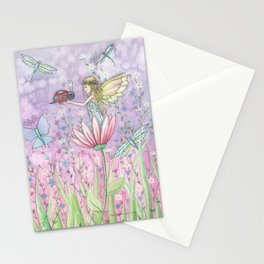 A Friendly Encounter Fairy and Ladybug Art by Molly Harrison Stationery Cards
