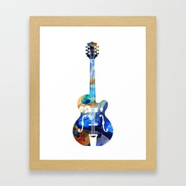 Vintage Guitar - Colorful Abstract Musical Instrument Framed Art Print