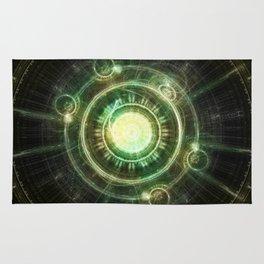 Green Chaos Clock, Steampunk Alchemy Fractal Mandala Rug