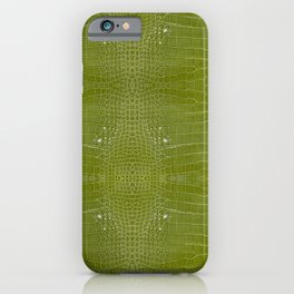 Lime Green Alligator Leather Print  iPhone Case