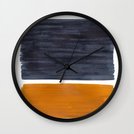 Minimalist Mid Century Modern Colorful Color Field Rothko Navy Blue Yellow Ochre Wall Clock