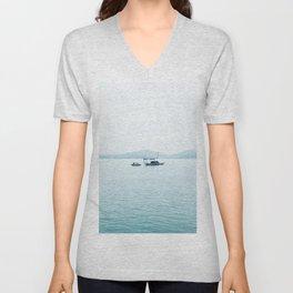 Blue Grey Lake Vietnam Unisex V-Neck