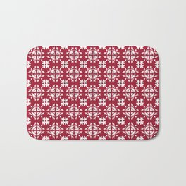 Crimson Red Flourish Flower Pattern Bath Mat