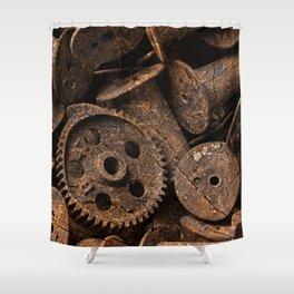 Cracked Wood Bobbins Shower Curtain