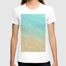Sparkling Gold Aqua Teal Glitter Glam #1 #shiny #decor #society6 T-shirt