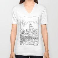les mis V-neck T-shirts featuring Ciudad de mis amores. by SuperFlashArts!