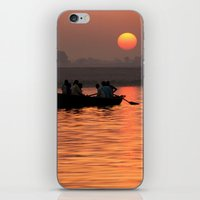 rowing iPhone & iPod Skins featuring Rowing Boat on the Ganges at Sunrise by Serenity Photography