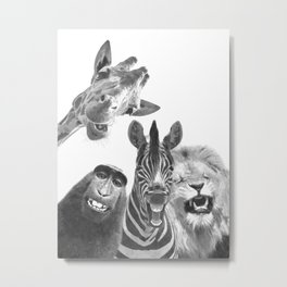 Black and White Jungle Animal Friends Metal Print