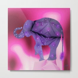 Pruple Elephant Metal Print