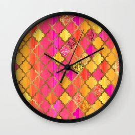 Moroccan Tile Pattern In Pink, Red, Orange, And Gold Wall Clock