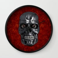 terminator Wall Clocks featuring Terminator Monochrome by Leslie Philipp