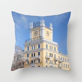 clock on the tower of the building Throw Pillow