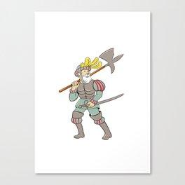 Spanish Conquistador Ax Sword Cartoon Canvas Print