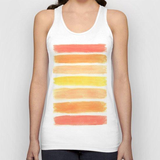 Orange Striped Abstract Unisex Tank Top