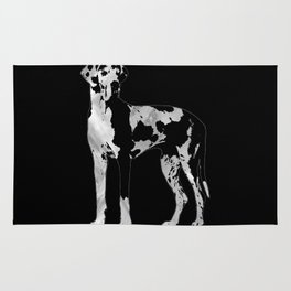 Harlequin Great Dane  -pearl and silver Rug