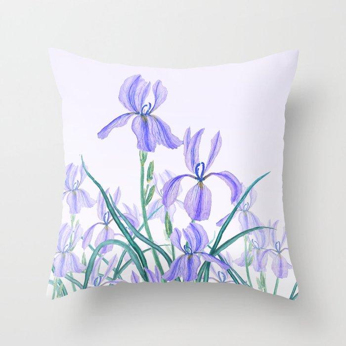 purple iris watercolor Deko-Kissen
