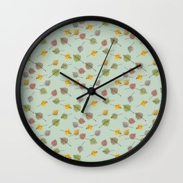 Colorado Aspen Tree Leaves Hand-painted Watercolors in Golden Autumn Shades Wall Clock