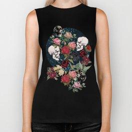 Distressed Floral with Skulls Pattern Biker Tank